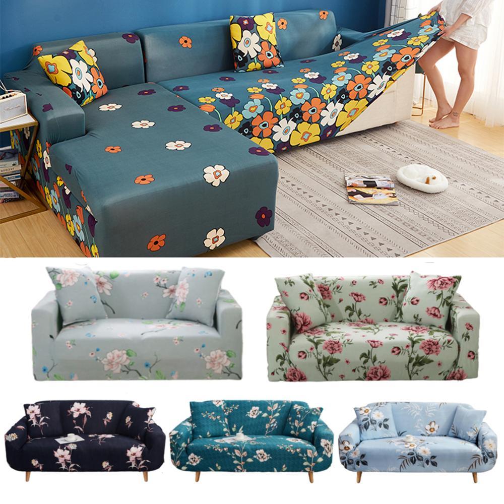 Sillón de esquina ajustable fundas de sofá para sala de estar 2 y 3 plazas sofá de flores sofá tipo diván cubierta lounge con peninsula