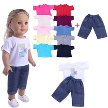 T-shirt Pants 2 Pcs/Set Of Doll Clothes,For 18 Inch American Doll Girls&43Cm New Born Baby Accessori