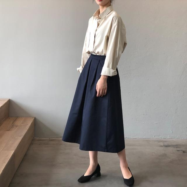 CMAZ Midi Summer Harajuku Skirt Women 2021 Fashion Korean Cotton A-line Elastic High Waist Simple Sk