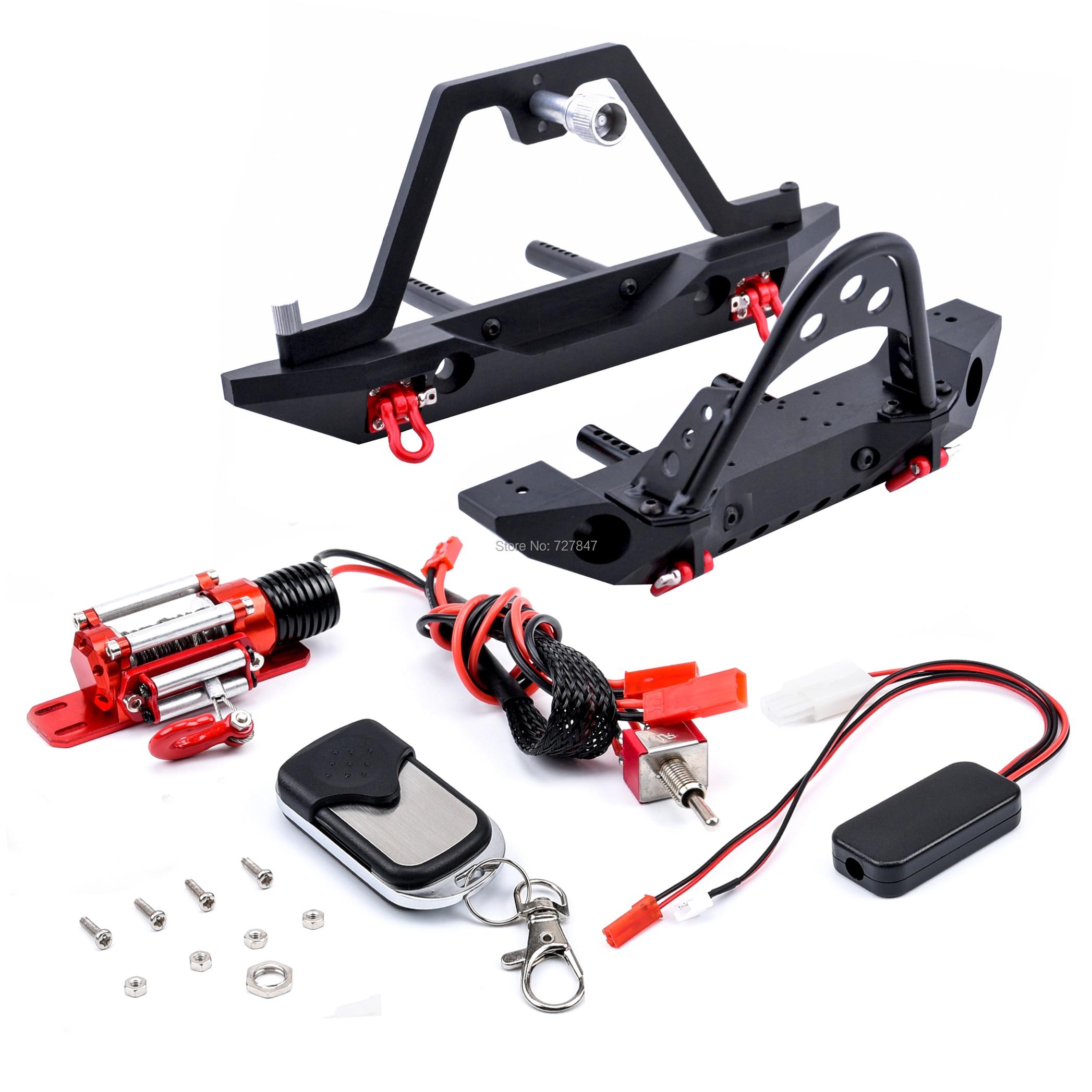 Cabrestante delantero/trasero de Metal/receptor de control remoto para camión 1/10 RC Crawler Axial SCX10 RC4WD 90046 D90 Traxxas TRX4