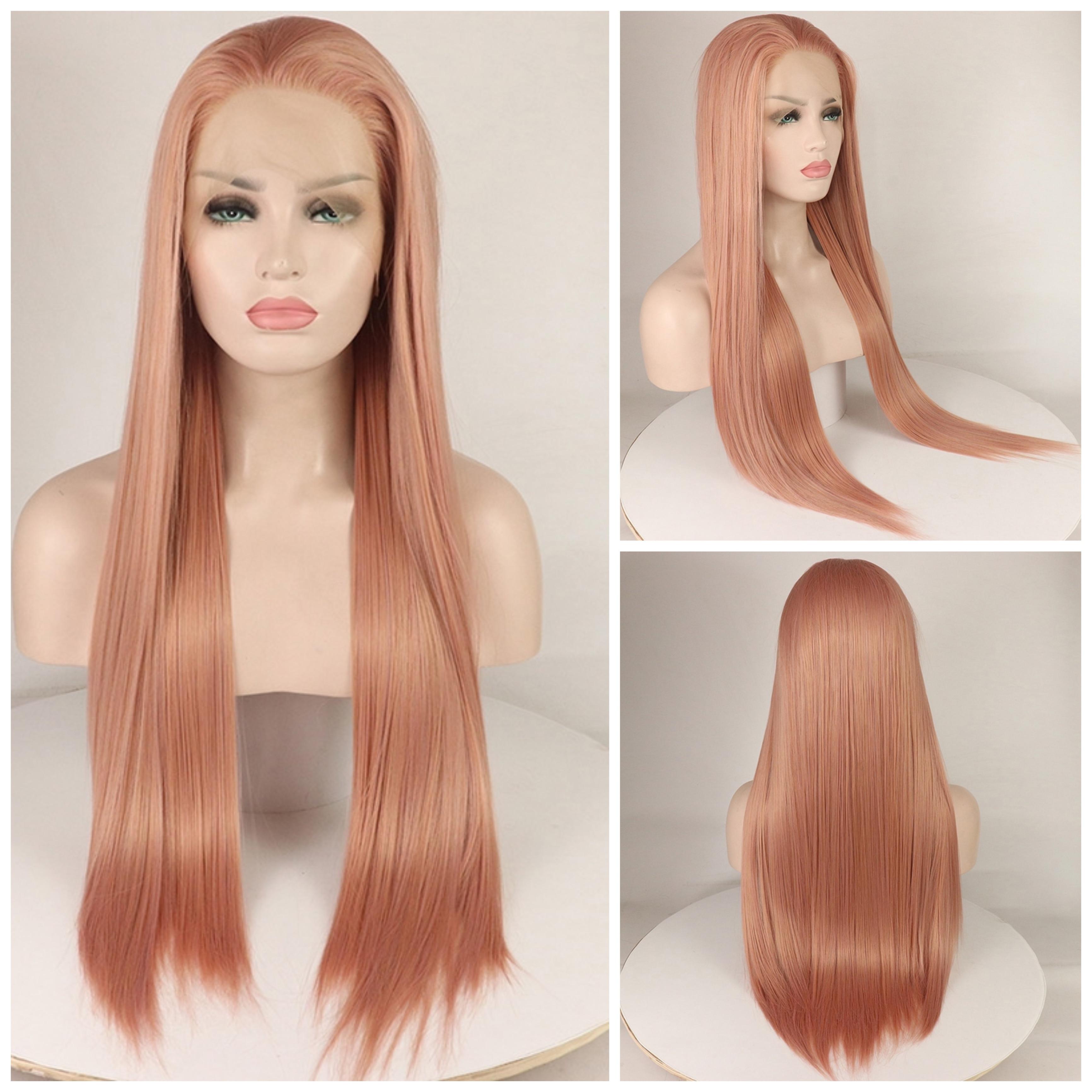 26 pulgadas atado a mano de color claro libre parte de fibra de futuro pelucas largas rectas resistentes al calor Synthetic13×4 pelucas frontales de encaje