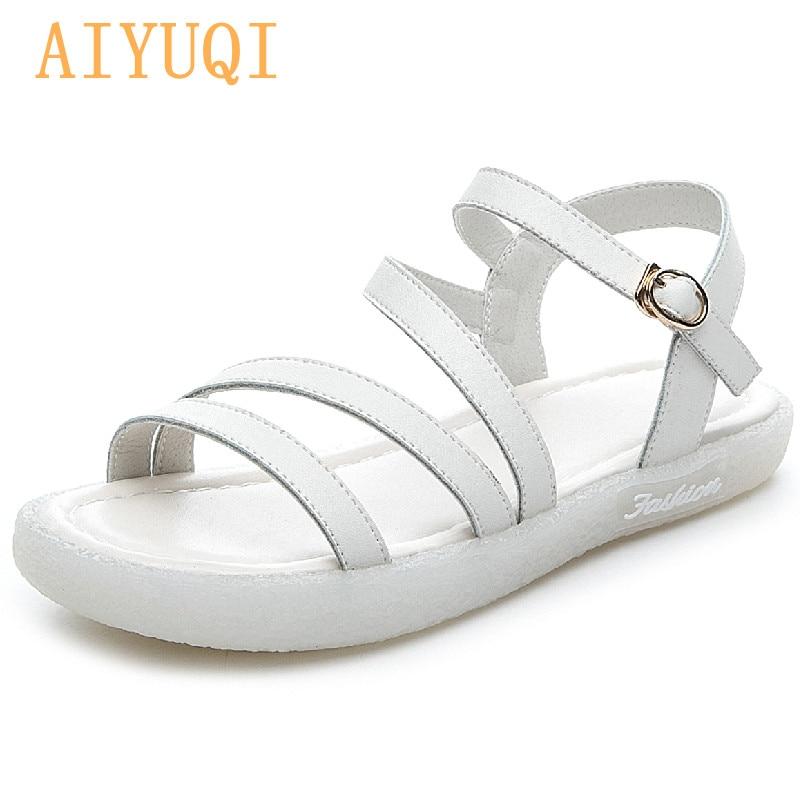 AIYUQI Sandals Women Flat  2021 Summer New Genuine Leather Girl Sandals Non-slip Beach Large Size Ladies Sandals