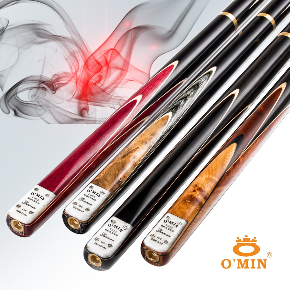 O'MIN GUNMAN Snooker Cue 9.5/10mm Tip North American Ash Wood 3/4 Pieces /One piece Snooker Kit with Telescopic Extension