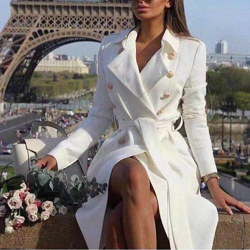 Doble pecho Vintage blanco Botón de trinchera mujeres fajas de abrigo Delgado largo Trench femenino invierno sólido Oficina