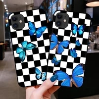 soft tpu black silicone rubber phone case cover for iphone 7 8 plus x xs 11 12 pro max xr 6s se 2020 blue butterfly checks coque