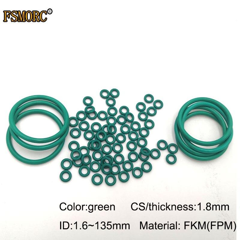 Зеленые уплотнительные кольца FKM id1.6мм ~ 135 мм * 1,8 мм толщина/CS маслостойкая кислота и щелочи устойчивая уплотнительная прокладка FPM уплотнительное кольцо