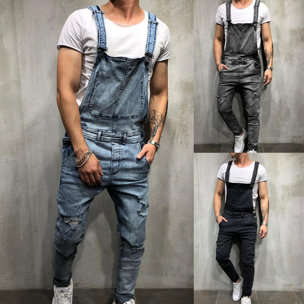 Лидер продаж! Джинсовый комбинезон мужской рваный, длинные брюки в ретро-стиле с дырками, джинсовый комбинезон, лето