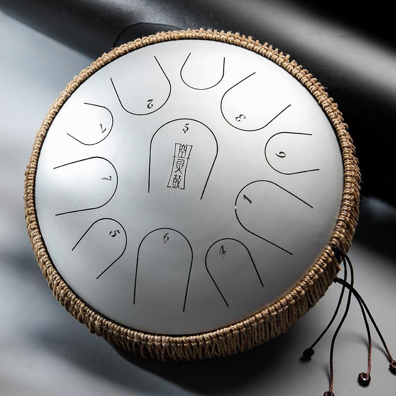 HluruB 11 notes 12.5inch C tones Titanium steel tongue drum Musical instrument Percussion tambourine Ethereal Handpan Meditatio enlarge