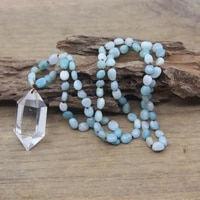 natural amazonite nugget chip beads knotted handmade yoga necklace crystal double point pendants mala jewelry wholesalesqc0121