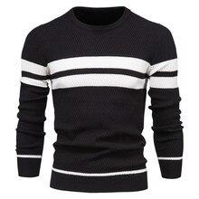 Automne et hiver hommes vêtements rayure hommes pull couleur unie col en v épaissi base chemise chaud ajustement col rond