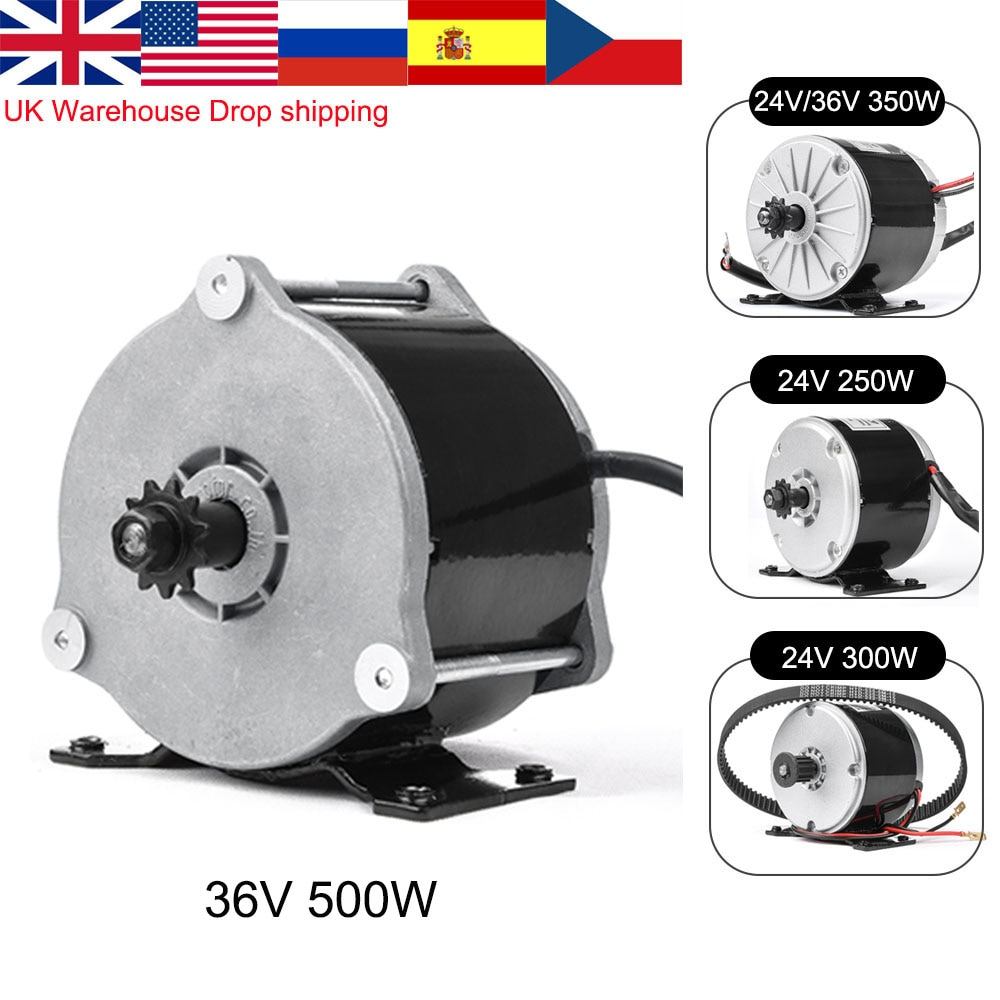 MY1016 350W 24V 36V DC Brushed Motor For Electric Bicycle Motor E-Scooter Ebike Belt Wheel Motor Kit Ebike Conversion Kit