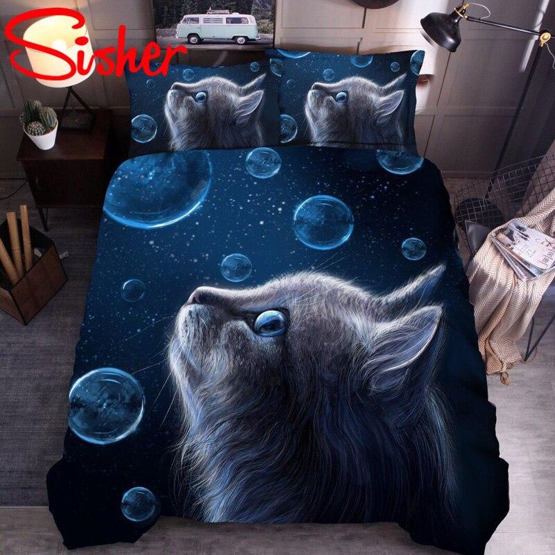 Juego de cama estampado en 3D, conjunto de edredón con diseño de gato para niños y adultos, ropa de cama individual doble de tamaño King, ropa de cama moderna y bonita