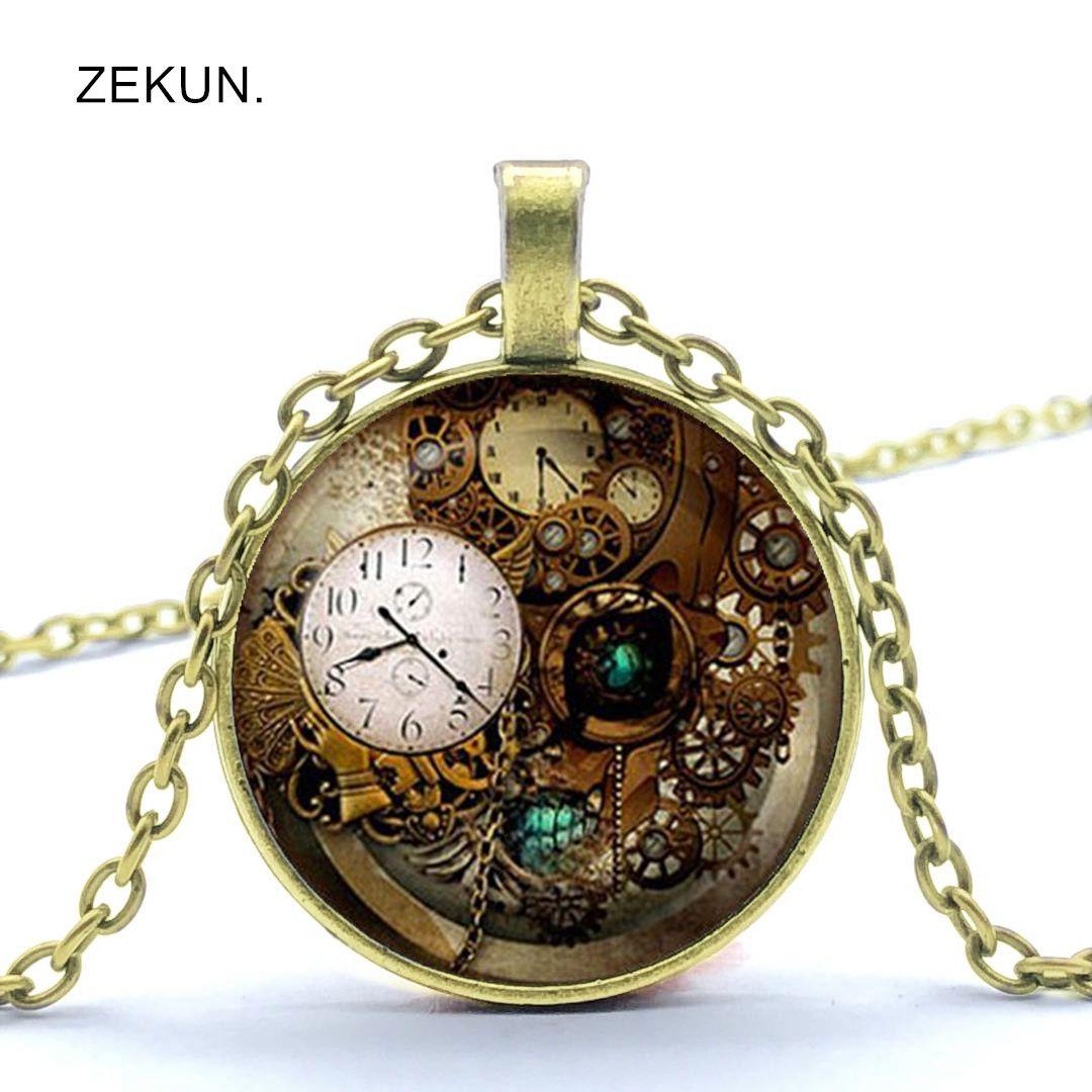 2019 Steampunk Clock Watch Gear Bump Glass Men and Women Necklace Jewelry