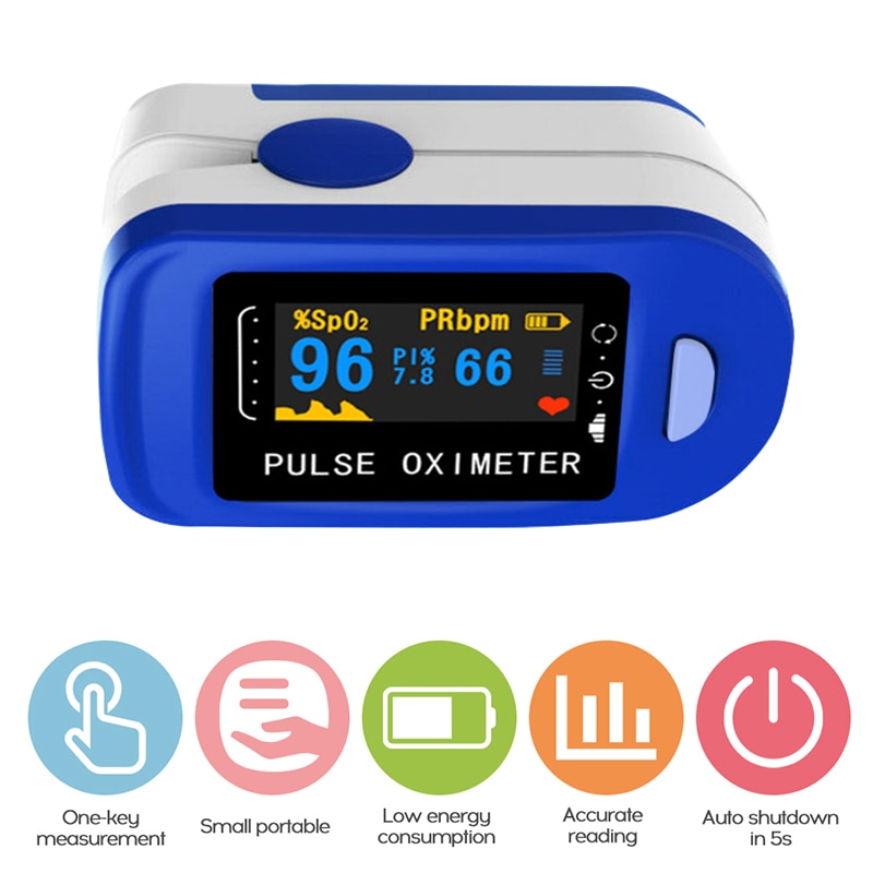Household Health Monitors Oximeter Medical Heart Rate Monitor LED Fingertip Pulse Oximeter Finger Blood Oxygen Oximeter