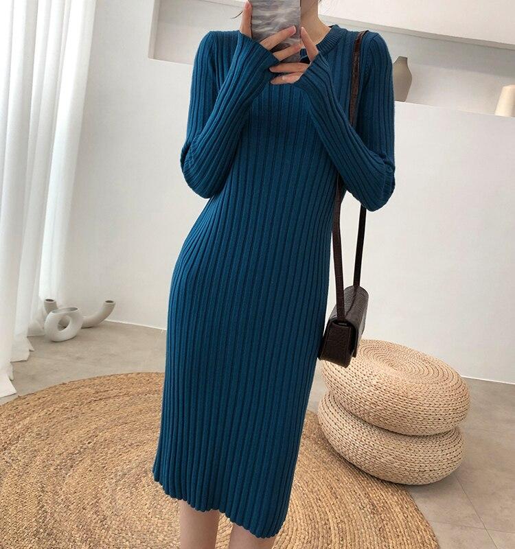 Otoño Invierno suéter de punto femenino traje para conjunto de dos piezas para mujeres suéter de punto Tops y Vestido de punto elegante conjunto de ropa traje