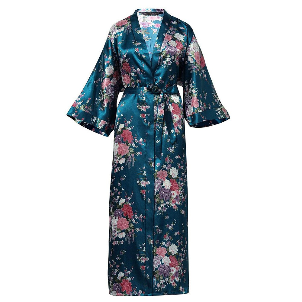 Braut Brautjungfer Hochzeit Robe Plus Größe Kimono Kleid Exquisite Druck Blume Nachtwäsche Nachthemd Casual Plus Größe Weichen Bad Kleid