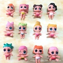 12 pièces/sac original lol surprise poupée gâteau décoration à la main poupée mignon sucette poupée accessoires jouets pour filles lol poupées