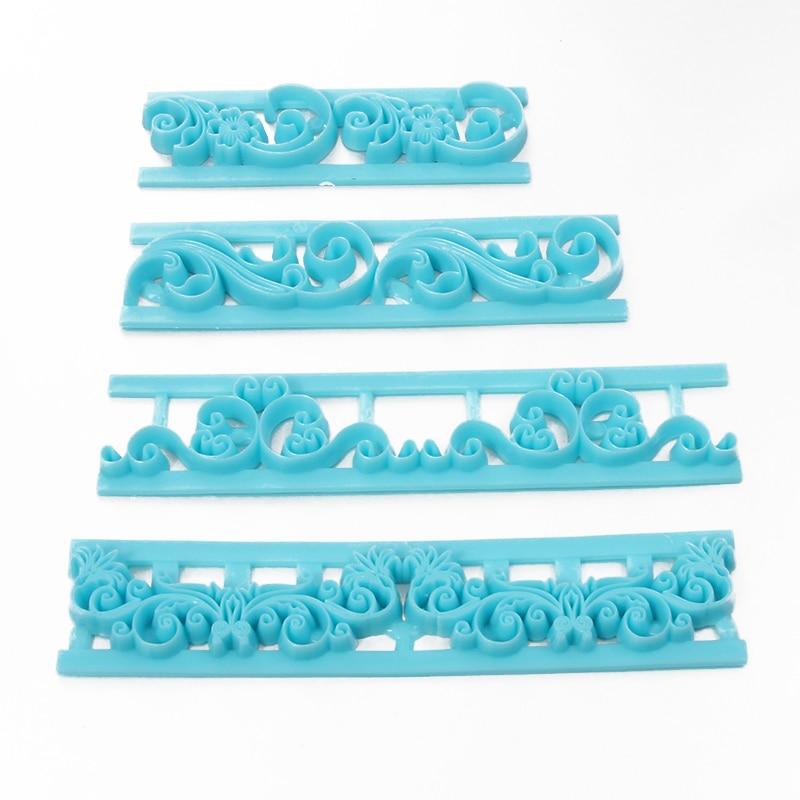 Cortadores de flores 4 Uds., cortador de Fondant para galletas, utensilios de decoración para hornear, herramienta para decoración de tartas con borde