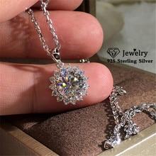CC colliers pendentifs pour femmes S925 argent tournesol cubique zircon rond Simple clavicule chaîne collier accessoires CCN712