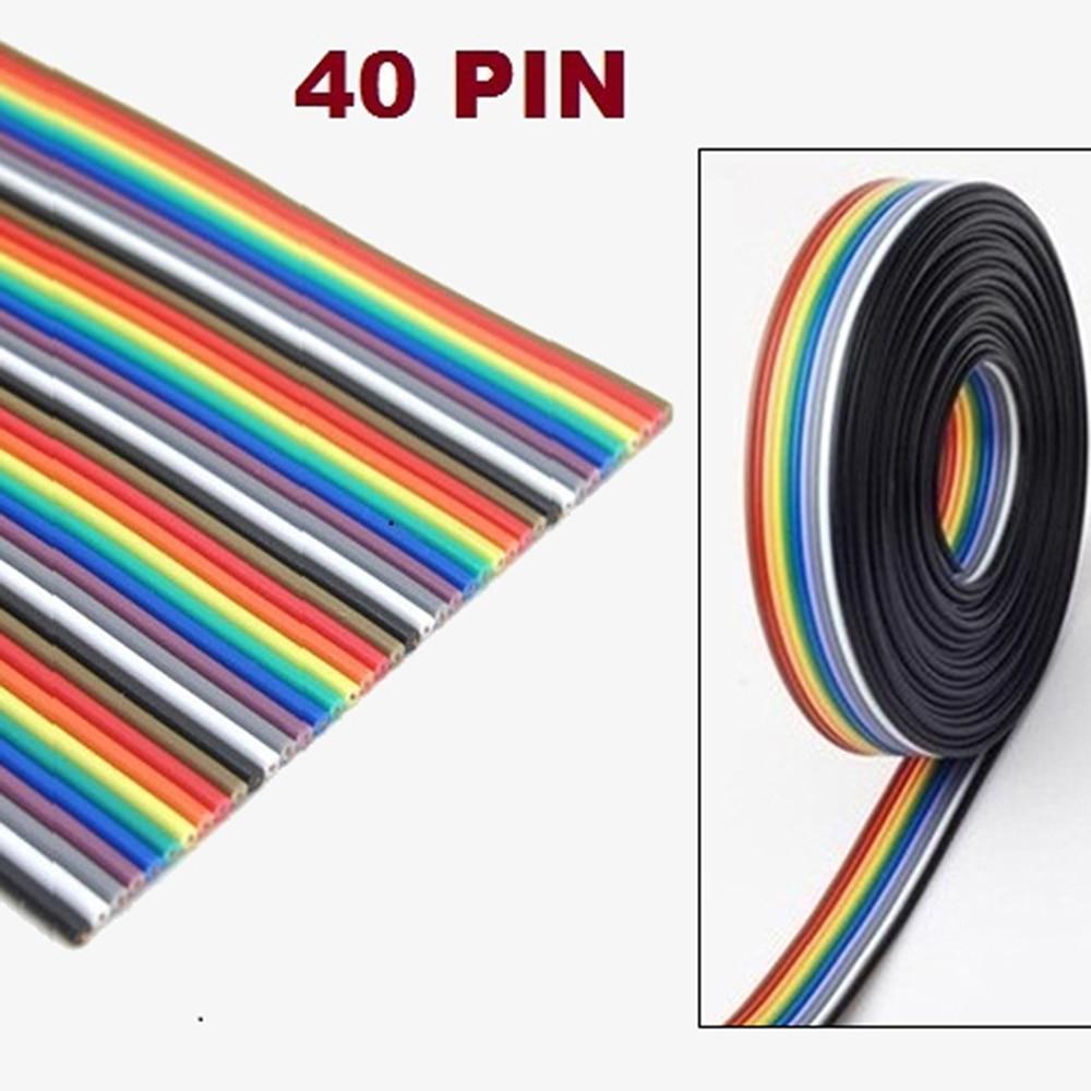 40P 1,27mm Color Cable plano tipo cinta Arco Iris DuPont Cable 1M 2M 3M 5M 10M para el FC Dupont Cable de conexión paso conectar cables