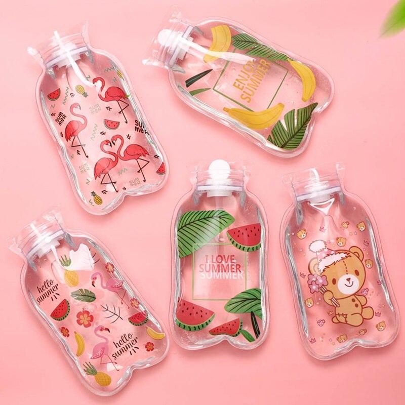 Mini botella de agua de inyección de agua con diseño de unicornio flamenco, calentador para manos, bolsas de agua caliente, calentador de botellas, suministro de herramientas de bolsa caliente 1 unidad,