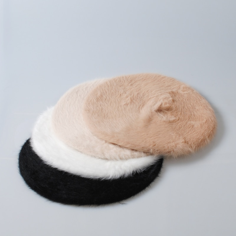 Autumn Winter Women Rabbit fur Berets Plain Blank Hat Casual Girls Soft Warm Ivy Cap