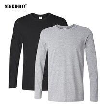 2Pcs/lot Spring Autumn 100% Cotton Long Sleeve T Shirt Men High Quality Solid O-Neck Tops Tees Big Size Boys T Shirt Homme