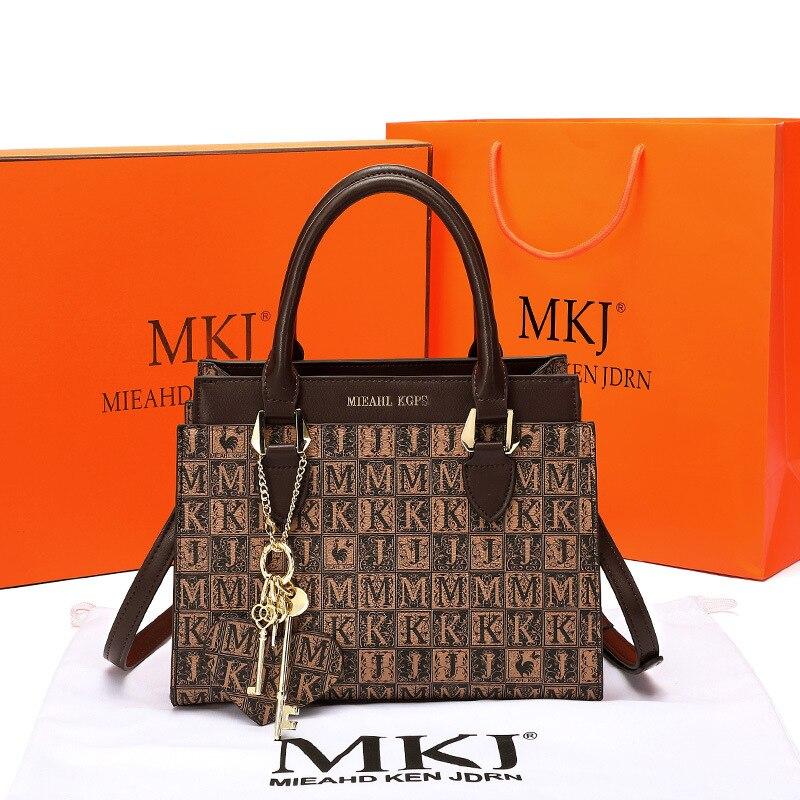 MKJ 2021 اسم العلامة التجارية الجديدة المرأة حقيبة كتف حقيبة سعة كبيرة المحافظ وحقائب اليد الفاخرة مصمم حقائب جلدية للنساء