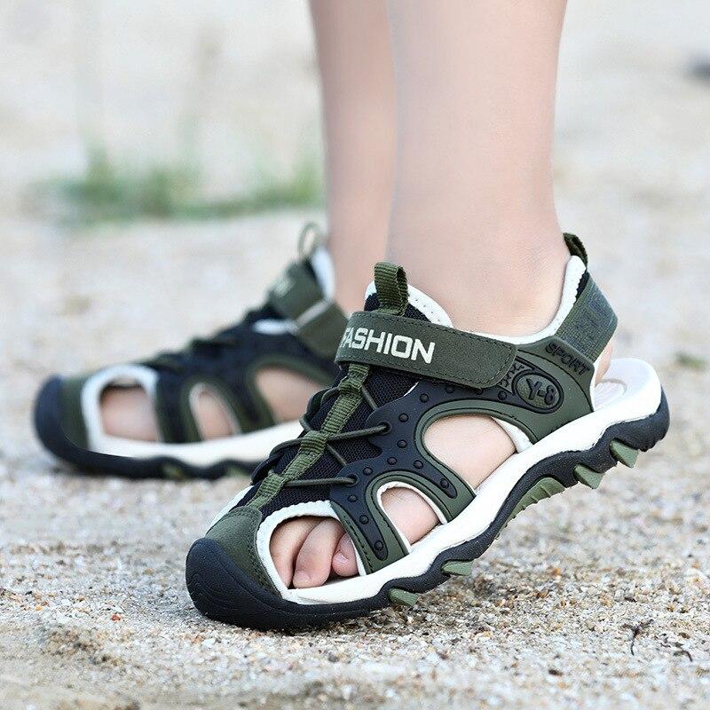 Nowe sandały dziecięce płaskie buty na plażę dziecięce sportowe sandały na co dzień studenckie dno antypoślizgowe zamknięte Toe dziecięce buty dla chłopców dziewcząt