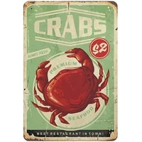 ppfine metal tin sign seafood crabs vintage tin poster metal sign wall decoration country kitchen home garage decor 12x8