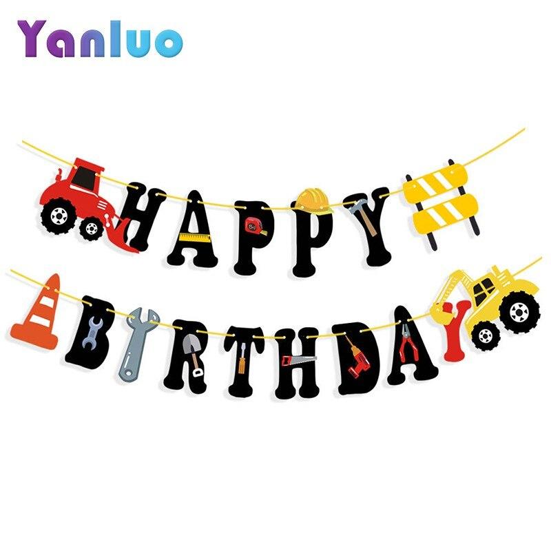 1 Uds. Construcción coche tema Fiesta Feliz cumpleaños carta Banner niños fiesta de cumpleaños Baby Shower decoración suministros