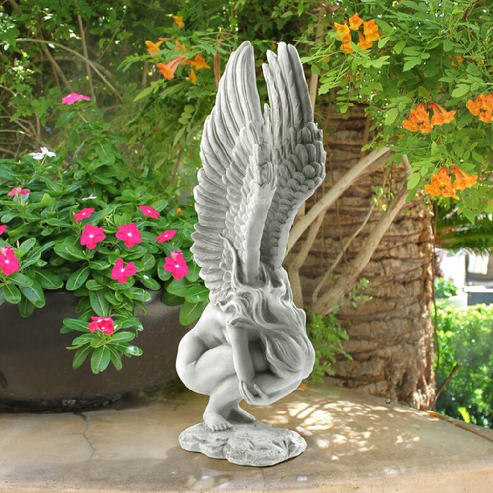 Angel Wings Resin Crafts Sculpture Home Decoration Angel Memorial and Redemption Antique Stone Statue Home Desktop Decor resin fat angel ornaments angel statue decorations artwork figurines bedroom desktop decoration crafts home decor accessories