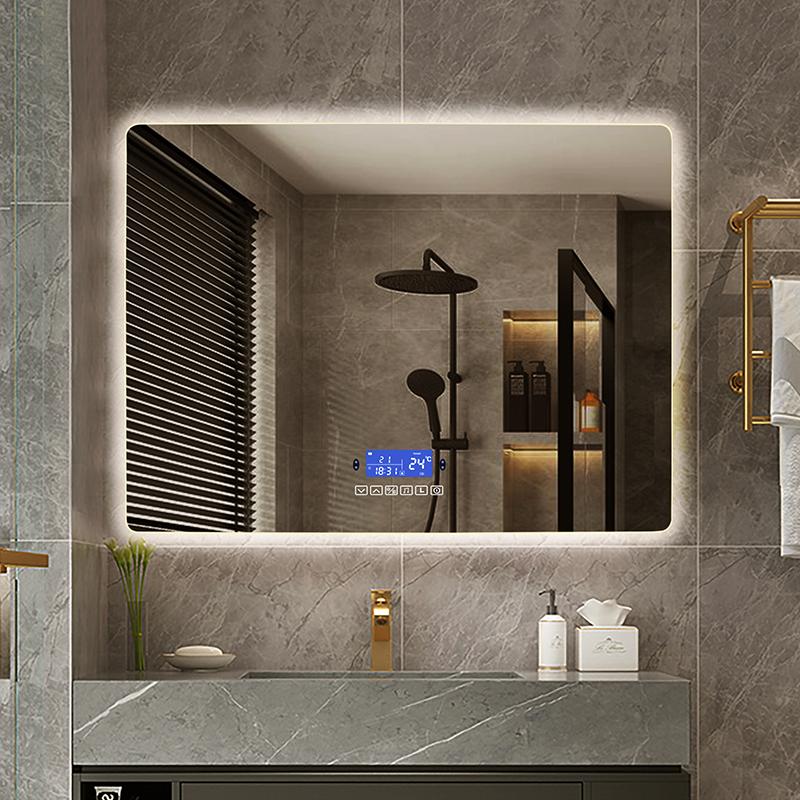 60x80 سنتيمتر عكس الضوء LED الذكية مستطيلة الحائط الحمام مع الجسم التعريفي مكافحة الضباب بلوتوث الخلفية ضوء الغرور مرآة