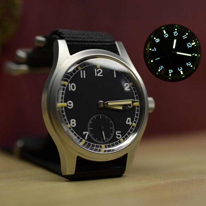 Baltany رجل ساعة كوارتز 36 مللي متر صغير الثانية مقاوم للماء خمر ساعة اليد الفولاذ المقاوم للصدأ مضيئة مرآة الياقوت العسكرية ساعة