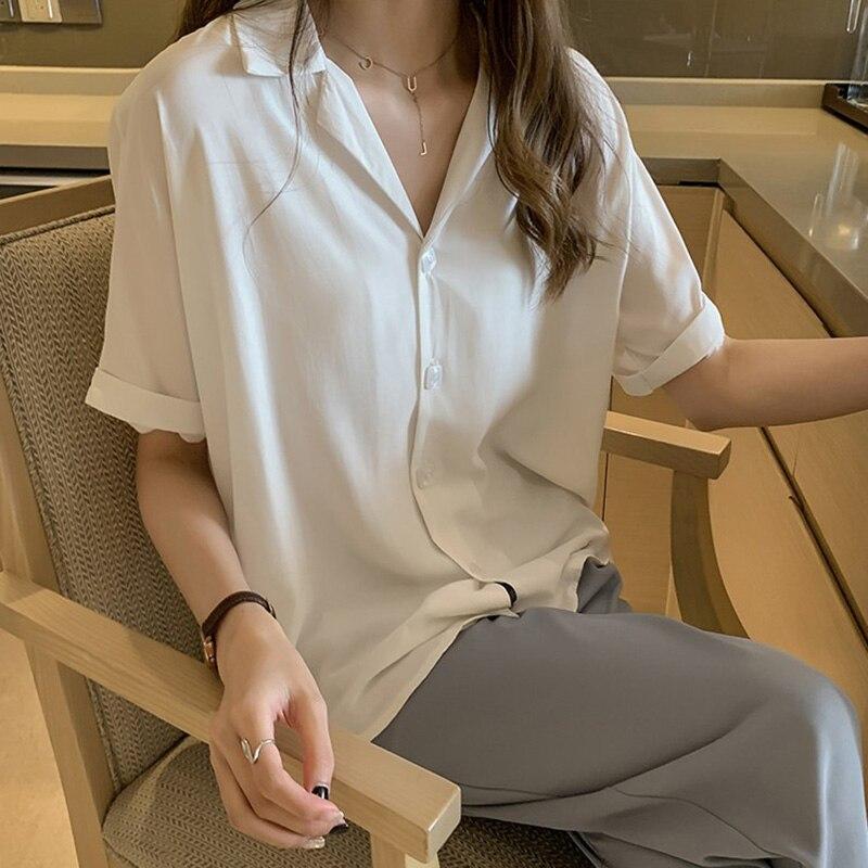 Camisa de verão moda tops blusa feminina 2020 turn-down colarinho manga curta solta mais botões szie camisas brancas blusas mujer
