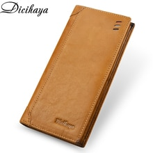 DICIHAYA Classic Style Thin Wallet Genuine Leather Men Wallets Long Male Purse Card Holder Wallet Me