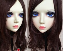 (GL082) Sweet Girl Resin Half Head BJD Kigurumi Mask With Eyes Cosplay Anime Role Lolita Mask Crossdress Doll