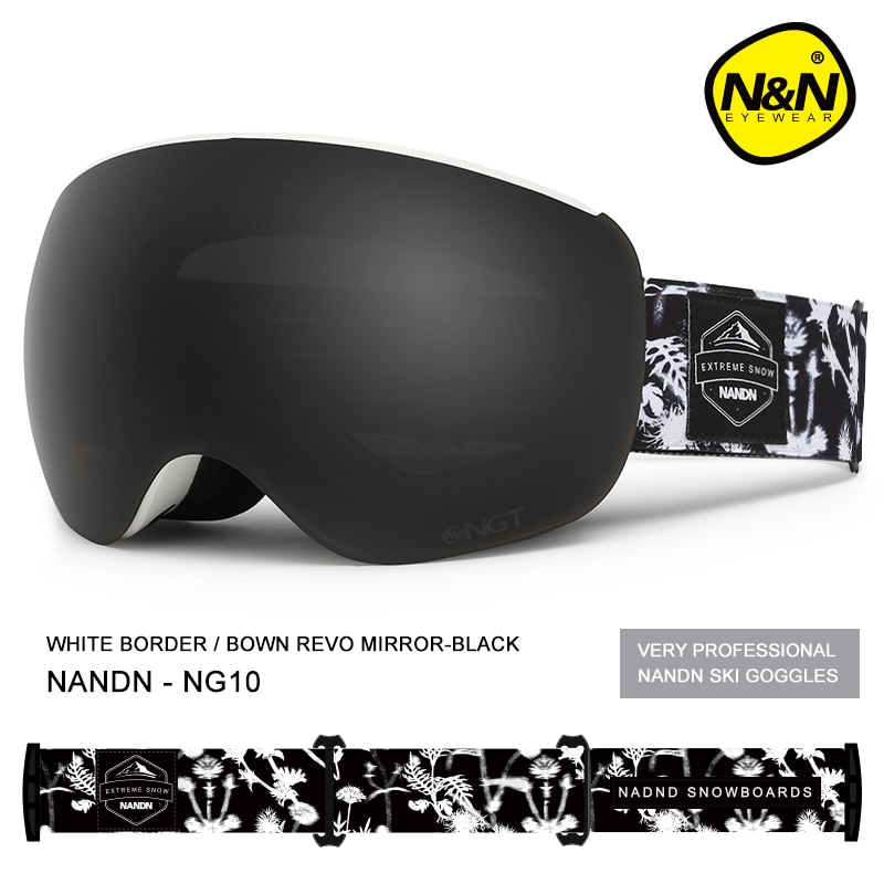NANDN שלג סקי משקפי מגן זוגי אנטי ערפל הגנת uv גברים נשים מגנט עדשות סנובורד