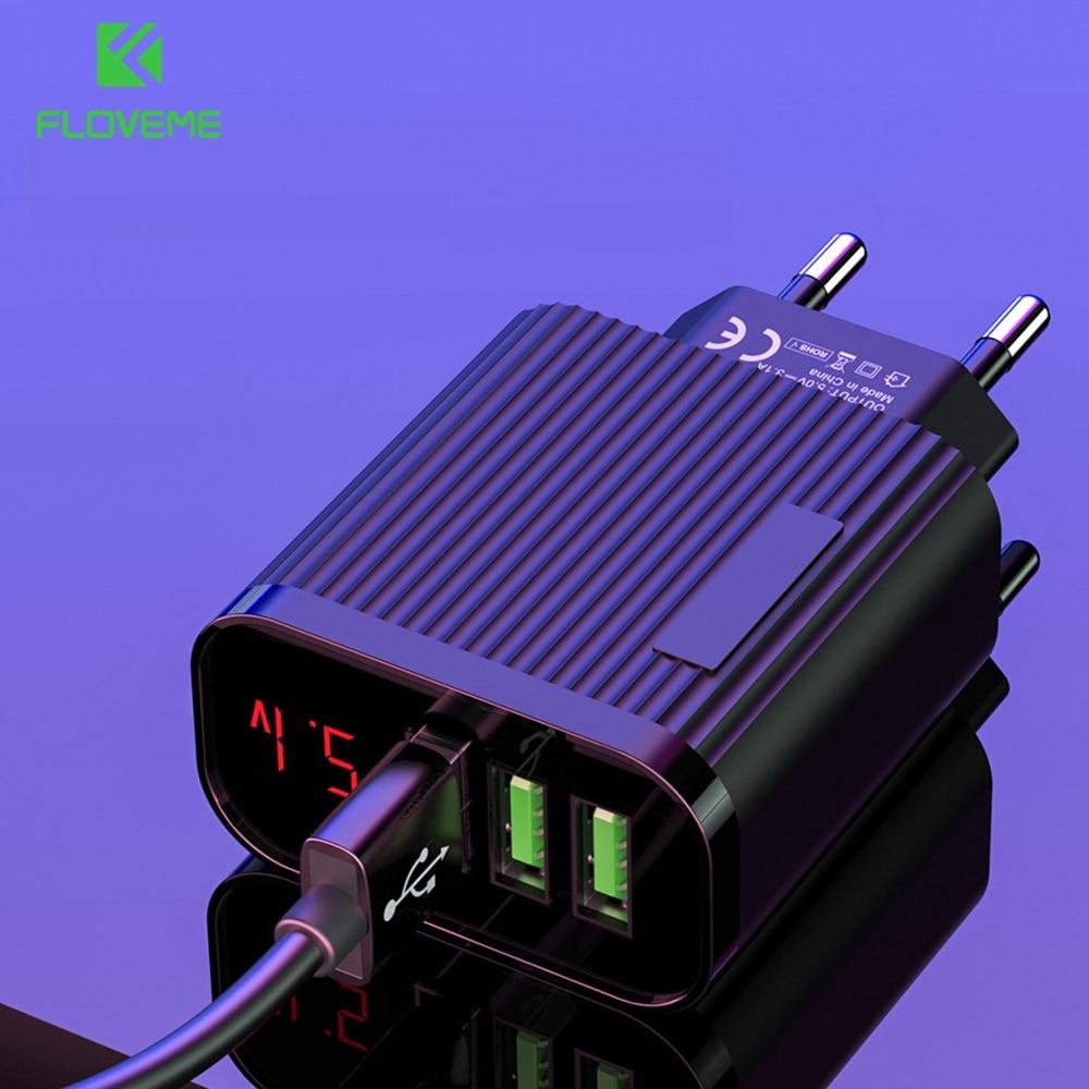 EnCase rotatoria de la UE pantalla Digital cargador USB 3 Port teléfono móvil 3A cargador rápido de viaje USB adaptador/cargador de pared para iPhone 11 Xiaomi