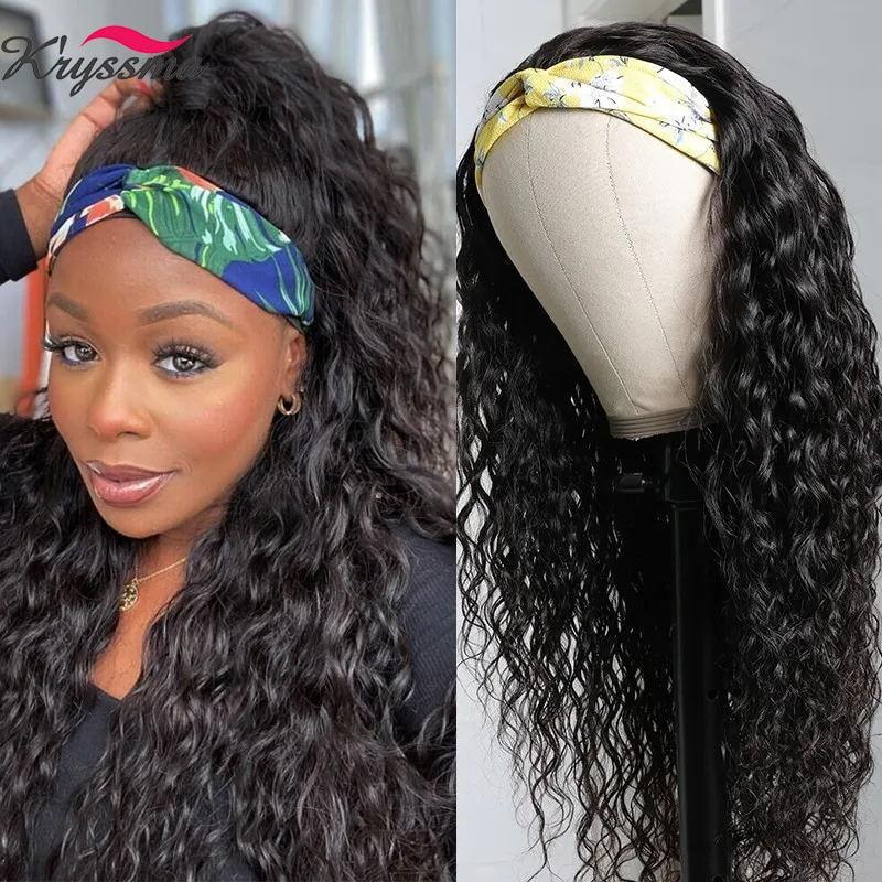 Kryssma Curly Headband Wig Long Curly Synthetic wigs natural looking headband Wigs For Black Women Heat Resistant Fiber Hair