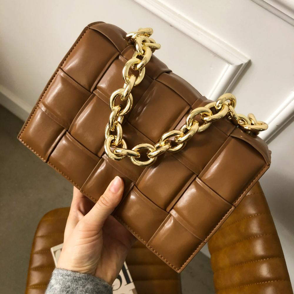 Cowhide Genuine Leather pillow bag Woven Chain Messenger Bag 2020 New Fashion Brand Name Design multi-use Lady Handbags Clutches