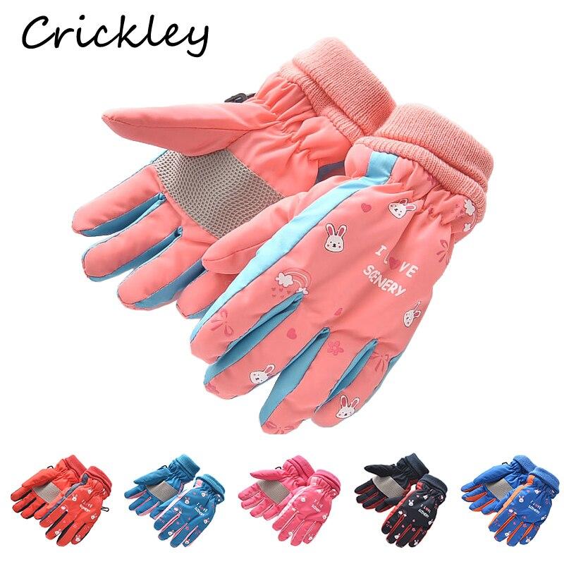 Nuevos guantes de invierno con bonitos dibujos de conejito para niños y niñas, guantes impermeables cálidos de felpa para esquiar para niños de nieve, guantes para niños pequeños para 3-5T