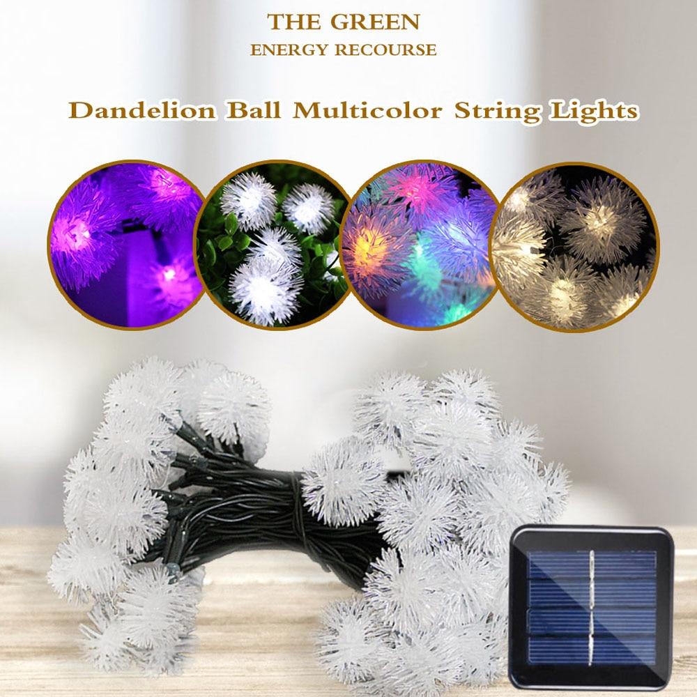Guirnalda de 50 luces LED de 5m, guirnalda Solar, guirnaldas de luces LED, lámpara alimentada por energía Solar, vacaciones al aire libre, fiesta de Navidad para decoración de jardín