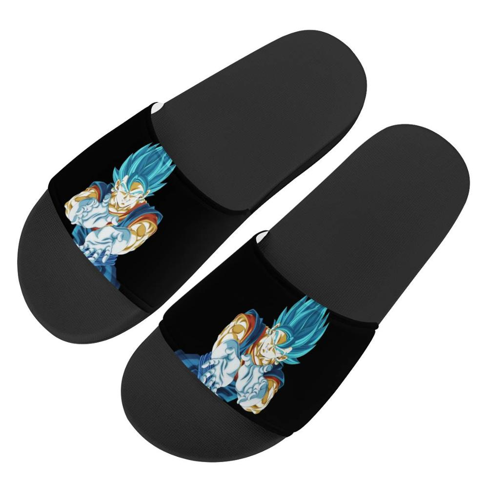 Anime Super dragon ball Custom Slippers pattern Summer men Outdoor Sandals Non-slip Beach Shoes Platform Flip Flops blue Goku