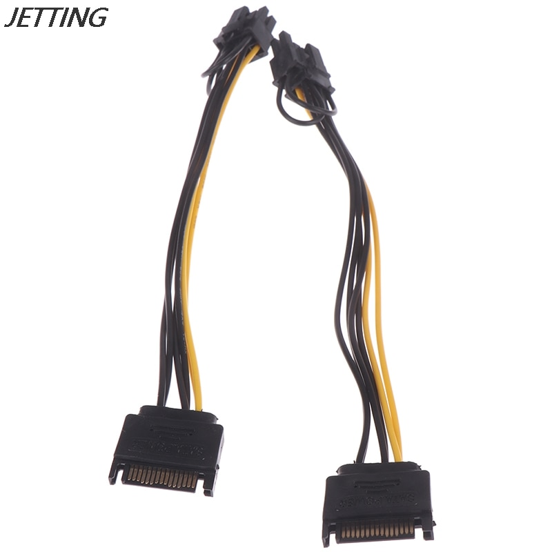6pin to 2 8pin 6 2 pin for miner molex 6 pin pci e to 2 pcie 8 6 2 pin graphics video card pci e vga splitter hub power cable 15pin SATA Male to 8pin(6+2) PCI-E Power Supply Cable 20cm SATA Cable 15-pin to 8 pin cable Wire for Graphic Card