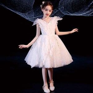 Girls Princess Dress Flower children's dress  Children's wedding dress Girls shapeless walk show dress summer