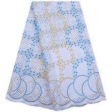 Kalume-tissu dentelle suisse/Kalume   Tissu africain dentelle, suisse coton, bleu, dentelle suisse pour couture, F1842