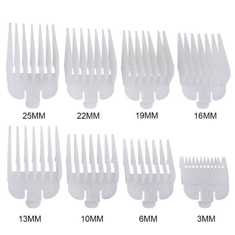 8Pcs Professional Hair Clipper Limit Comb Guide Attachment Size Barber Replacement 3/6/10/13/16/19/22/25mm Shaving Combs