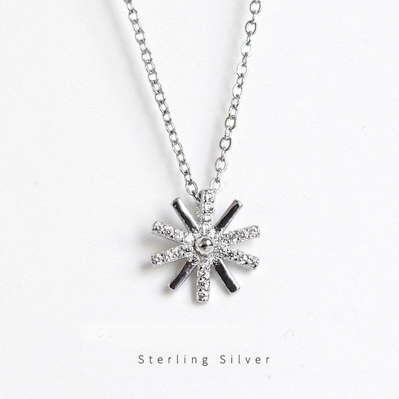 ZOBEI  Real 925 Sterling Silver BOho Zircon Sunflower Pendant Necklace Fine Jewelry Personality Choker For Women Anniversary