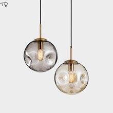 Nordique luxe Concave convexe boule de verre pendentif lumières chambre Restaurant salon Art concepteur café barre Luminaire Suspension